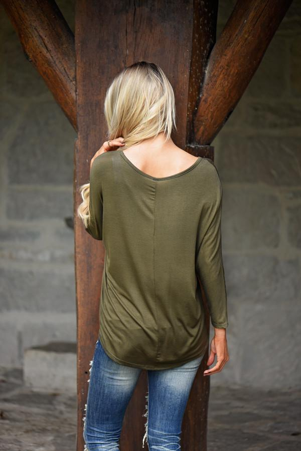 Glam Pocket Top - Olive