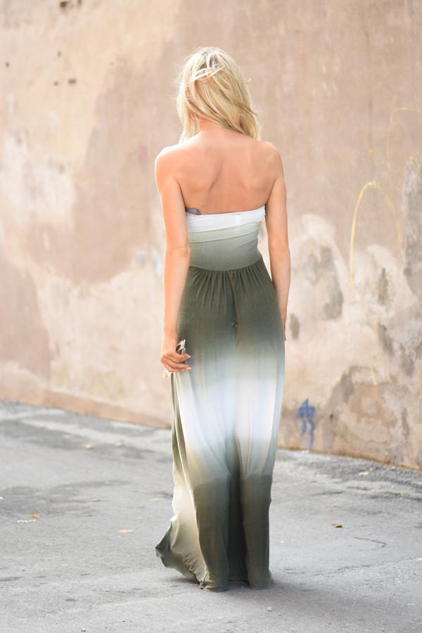 Strapless Ombre Maxi Dress