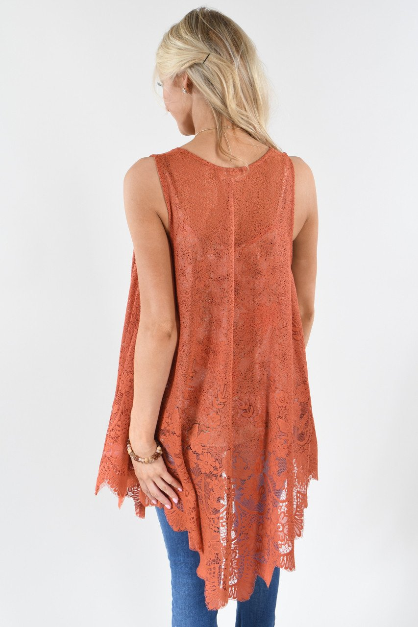 Burnt Orange Sleeveless Kimono