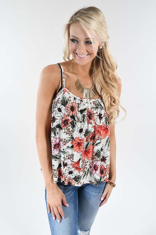 Make Believe Floral Tank Top