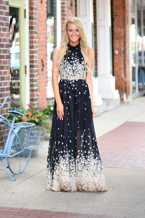 Cherry Blossoms Maxi Dress ~ Black
