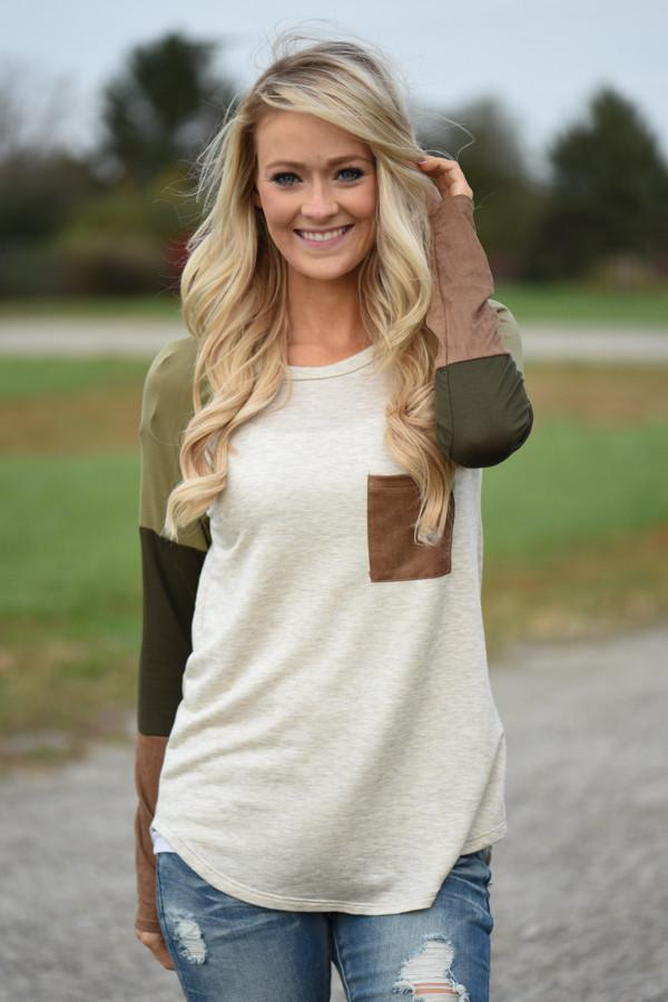 Picture Perfect Long Sleeve Top ~ Olive