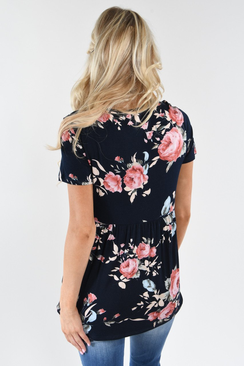 Favorite Lace Up Top ~ Floral Navy