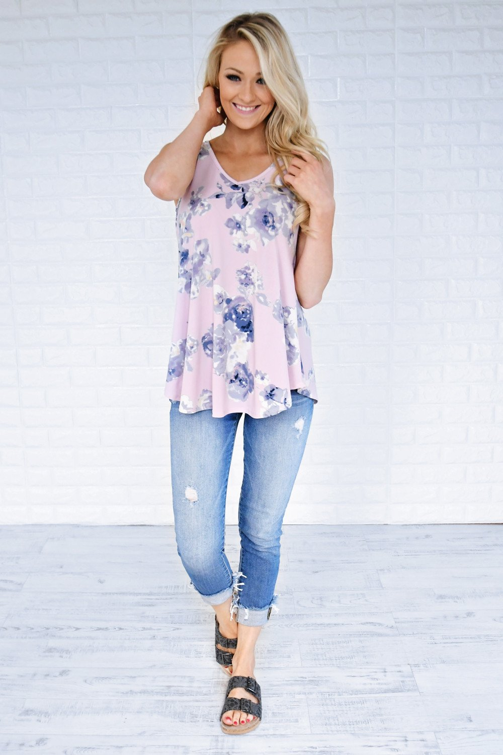 Dessert First Floral Top ~ Purple