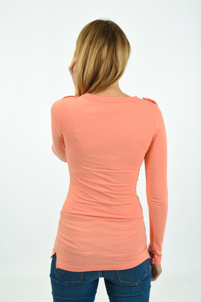 Button Top ~ Peach