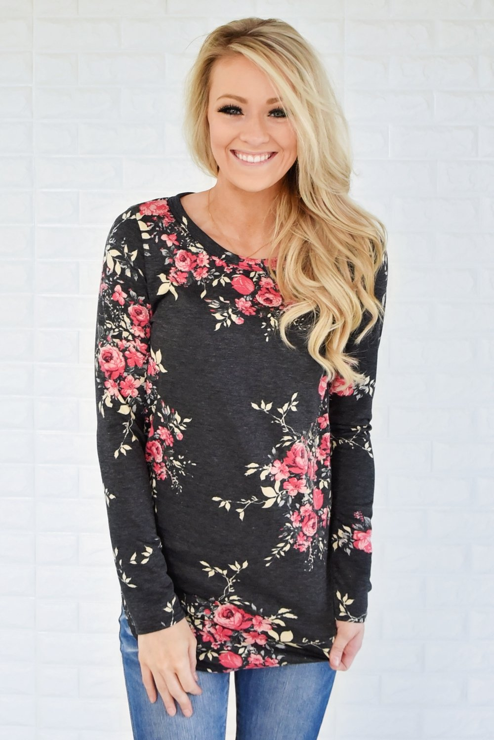 Flowers in Fall Long Sleeve Top ~ Charcoal