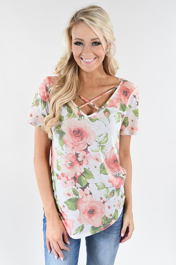 Love the Way You Look Floral Criss Cross Top ~ Ivory