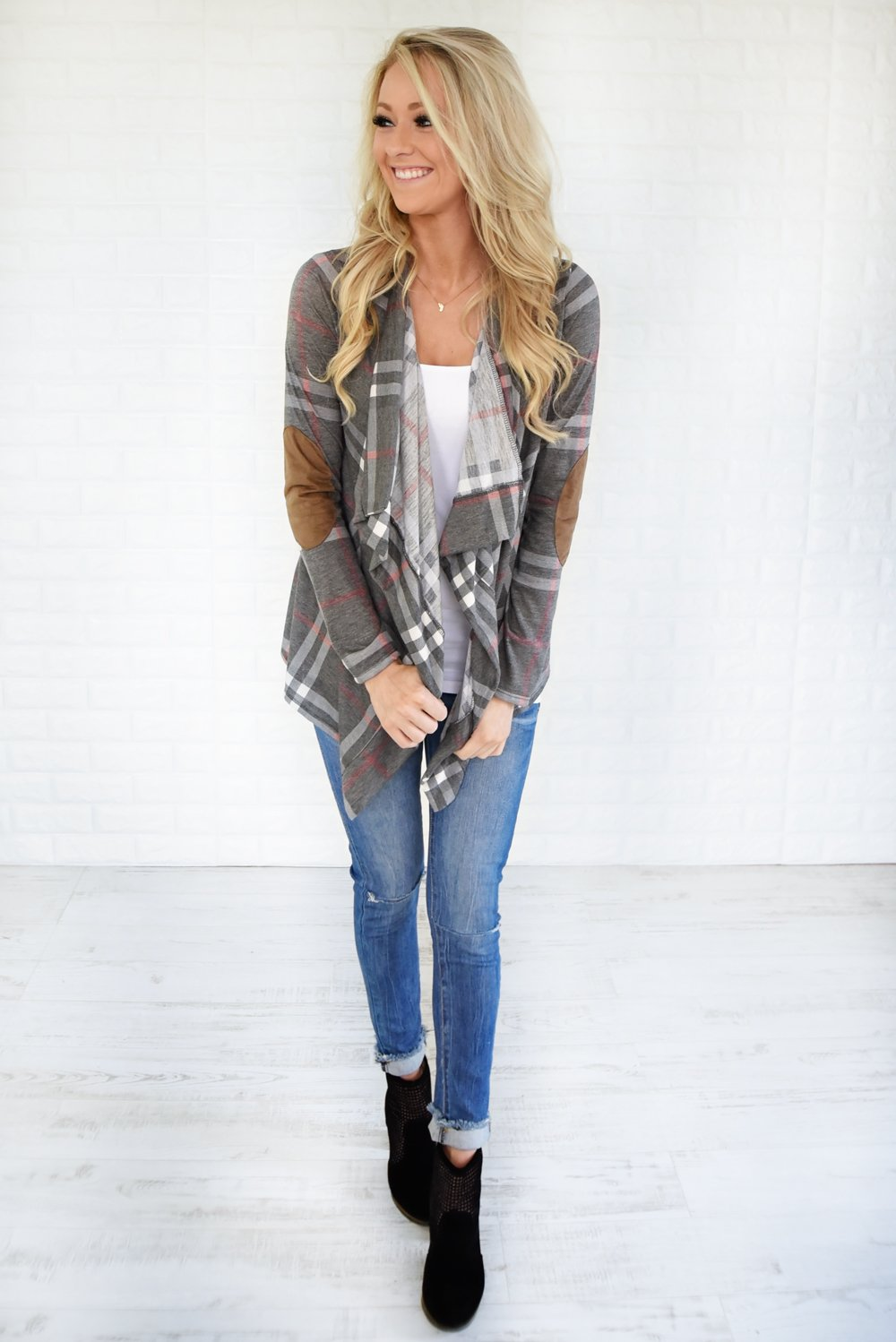 Plaid About You Cardigan ~ Grey