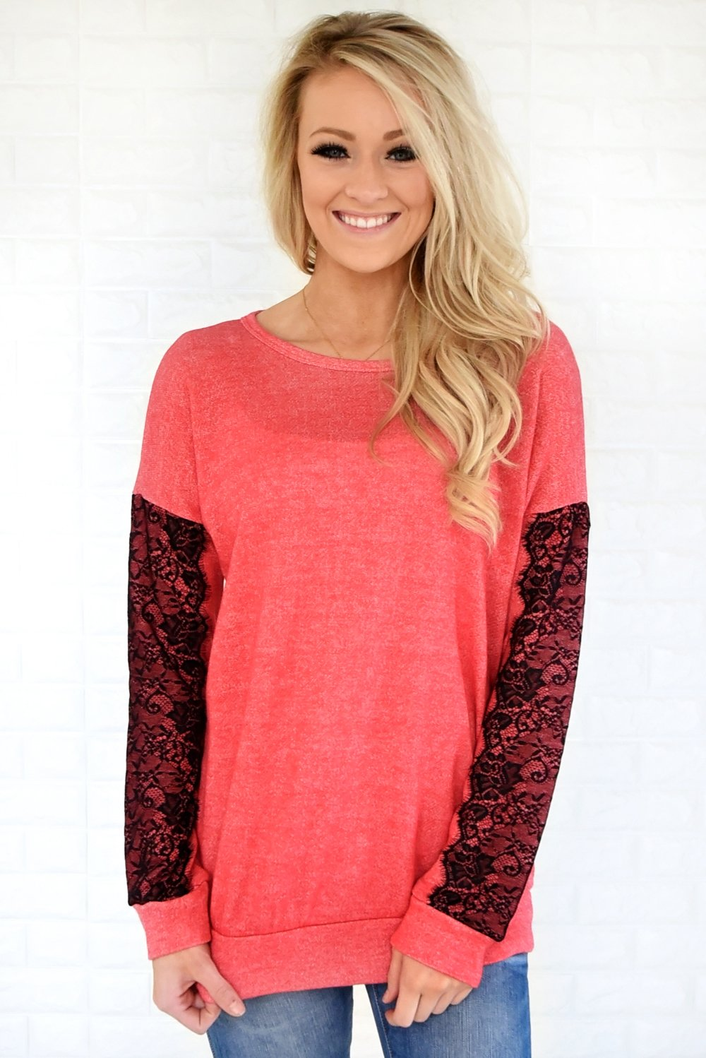 Just a Touch of Lace Sweater ~ Bright Coral