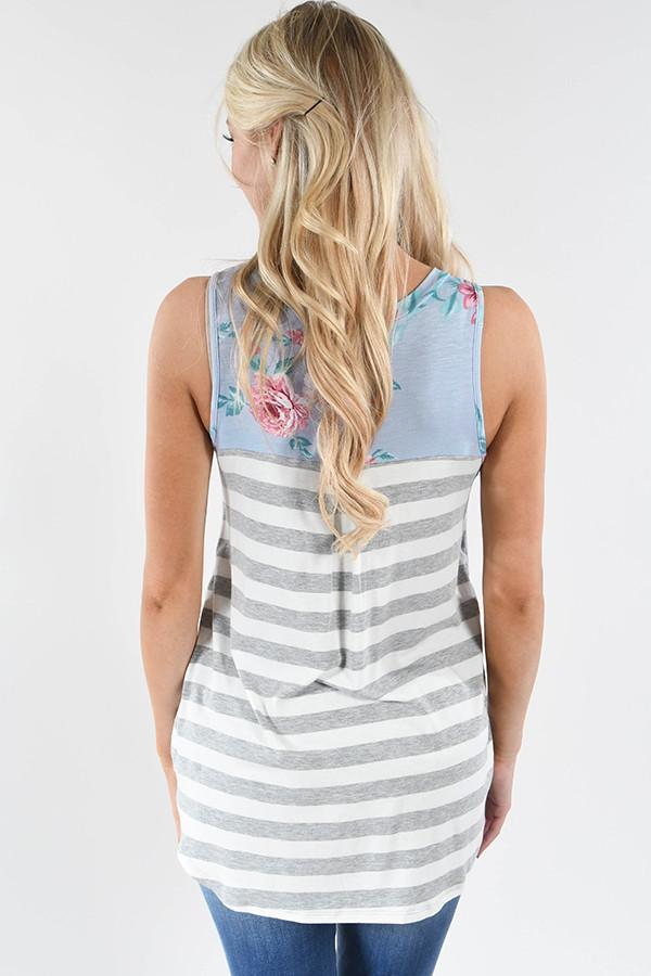 Show Your Best Side Floral & Stripes Top ~ Light Blue