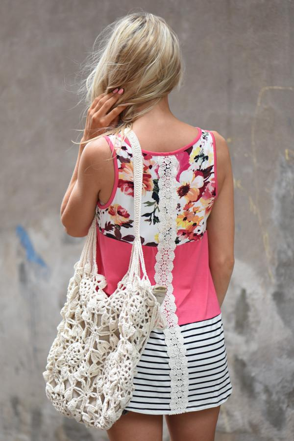 Don't Let Me Down Floral Tank ~ Pink
