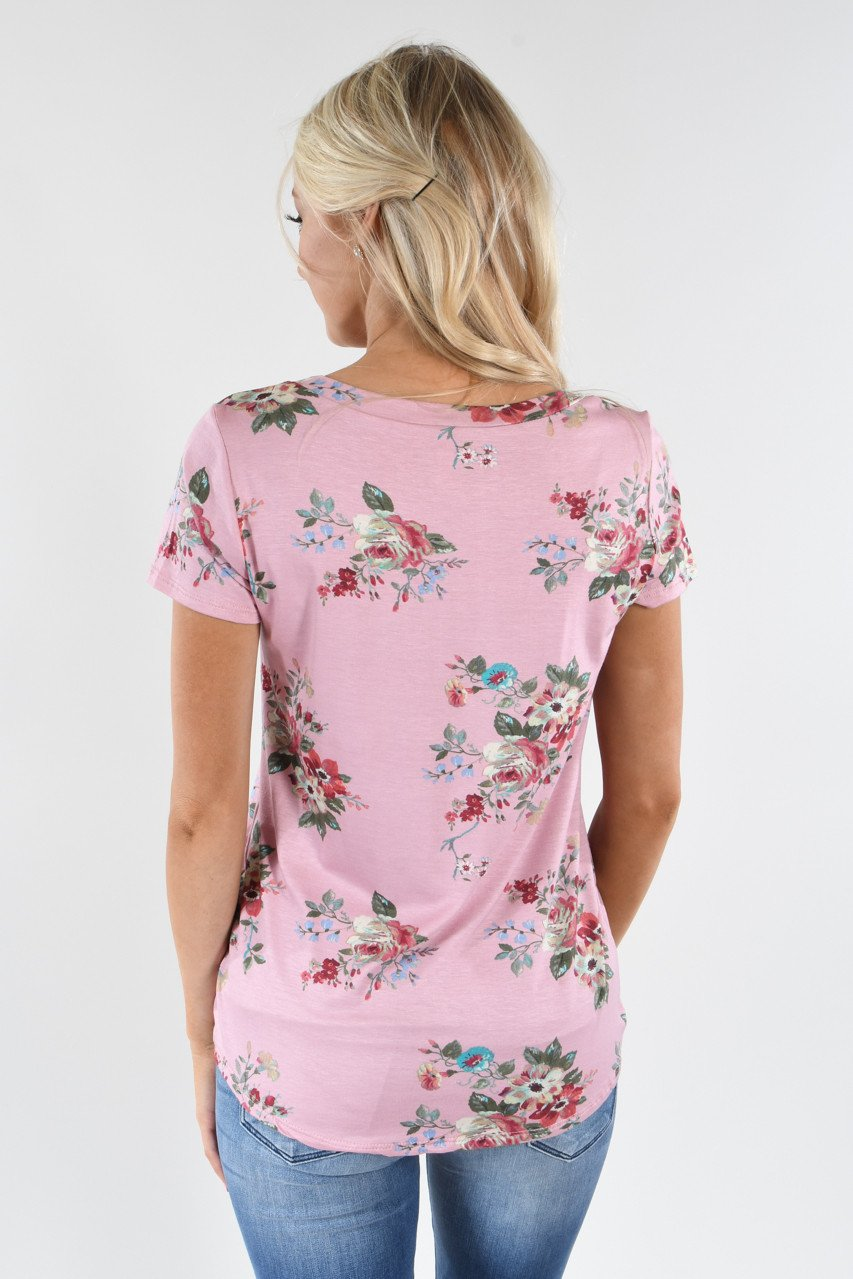 Summertime Floral Top ~ Pink
