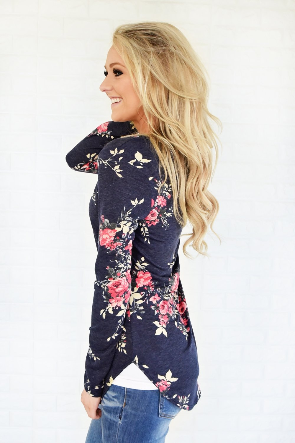 Flowers in Fall Long Sleeve Top ~ Navy