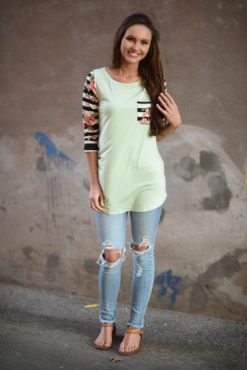 Mint Floral Striped Sleeve Top