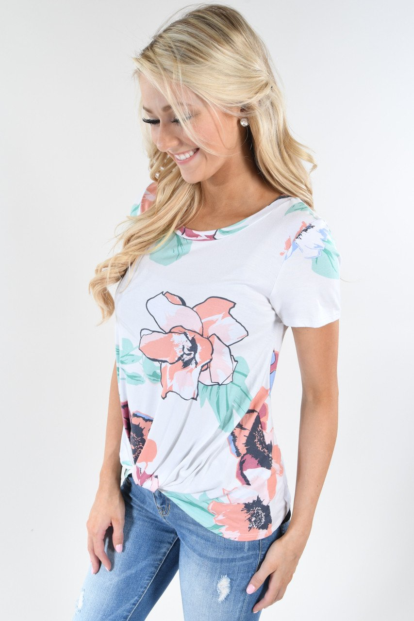 Floral Watercolor Knot Top