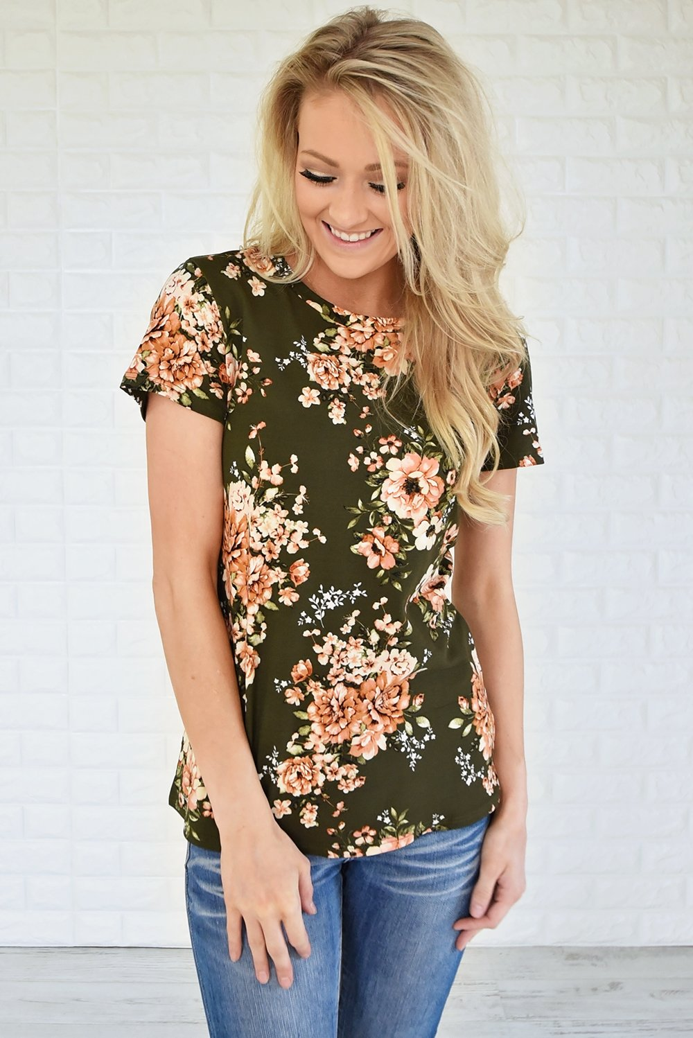 Beautifully Blooming Top ~ Olive