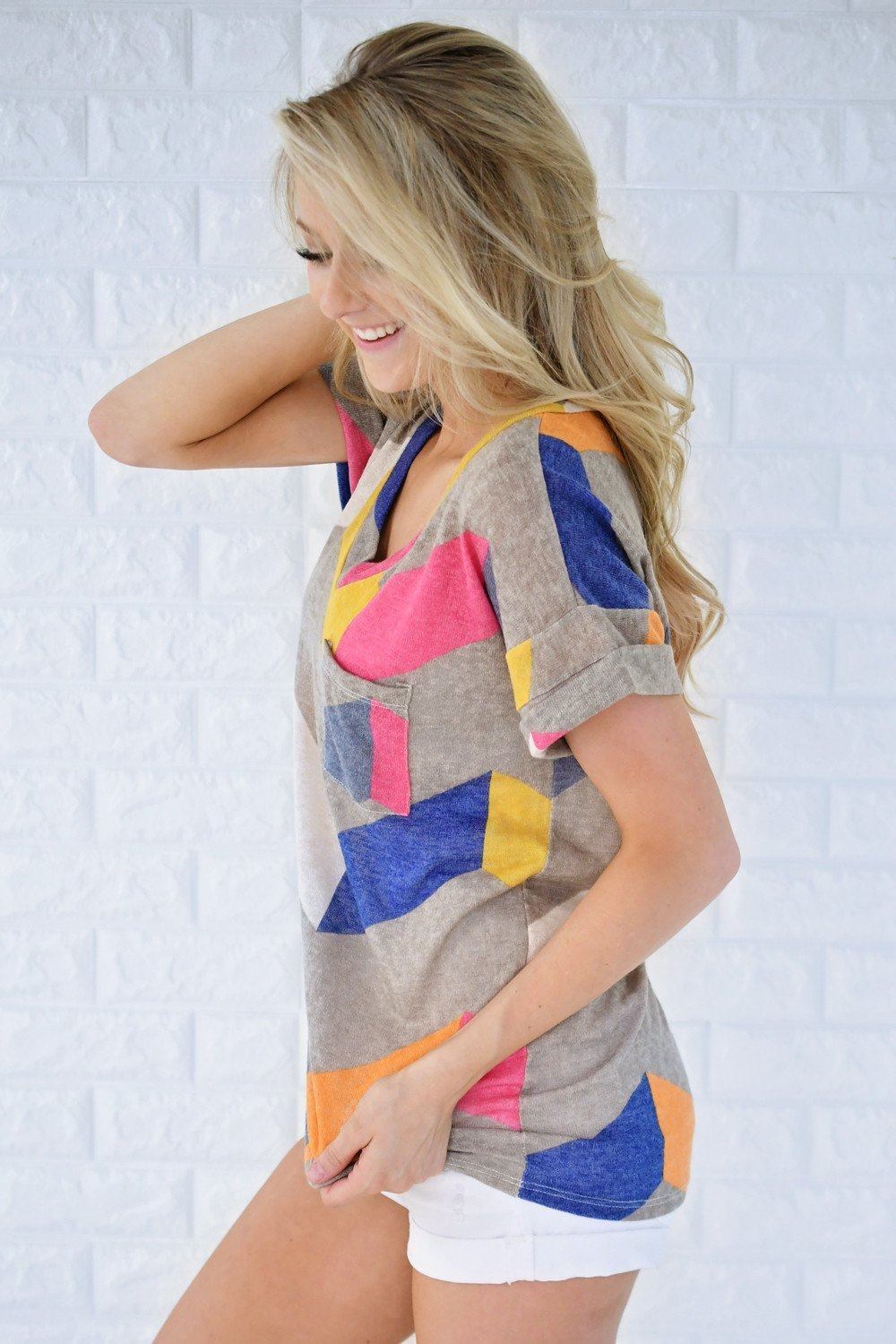 Oh Happy Day Chevron Top ~ Grey