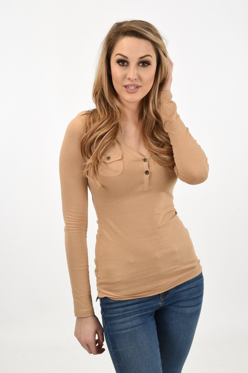 Button Top ~ Taupe
