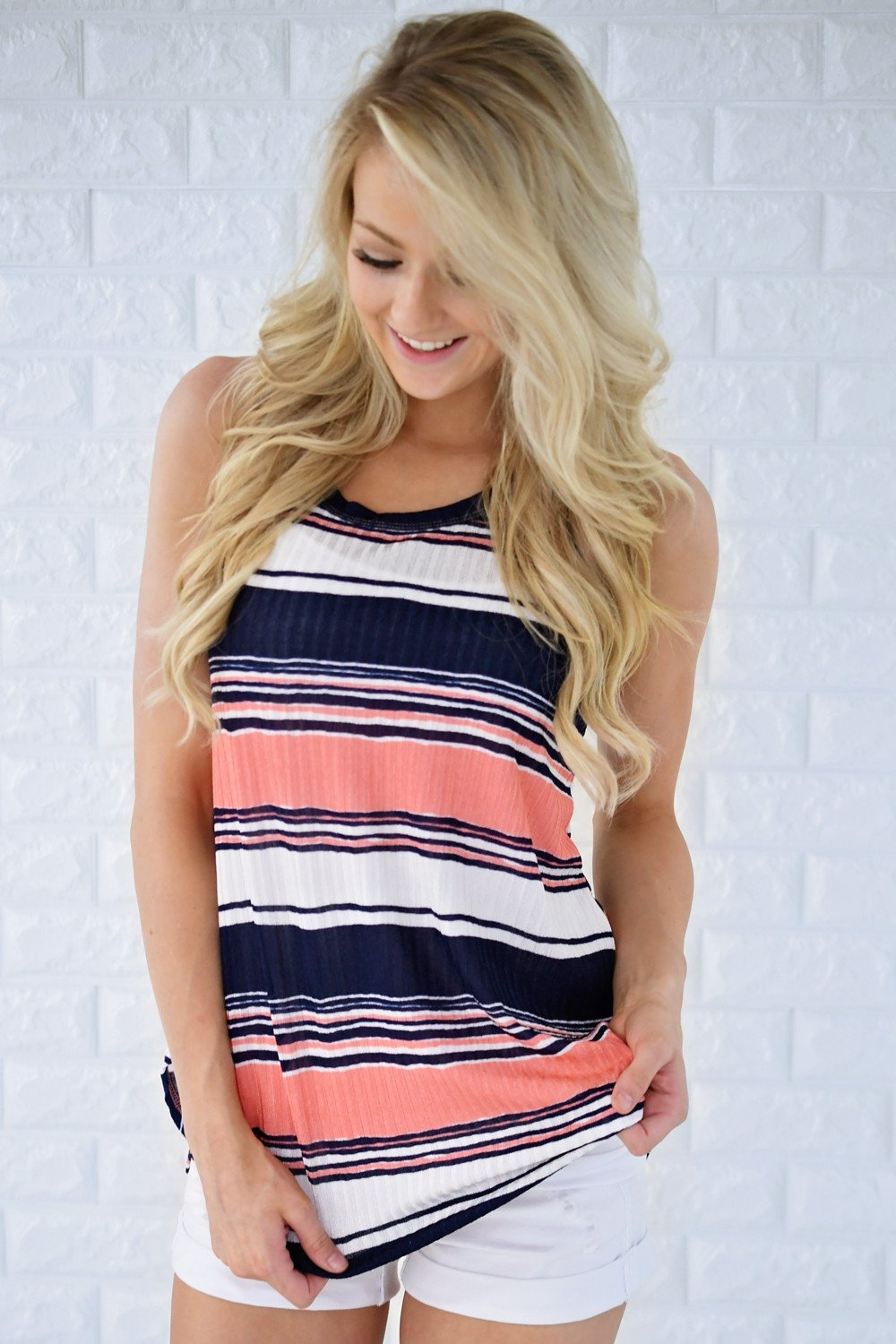 Stripes & Sunshine Tank Top ~ Orange