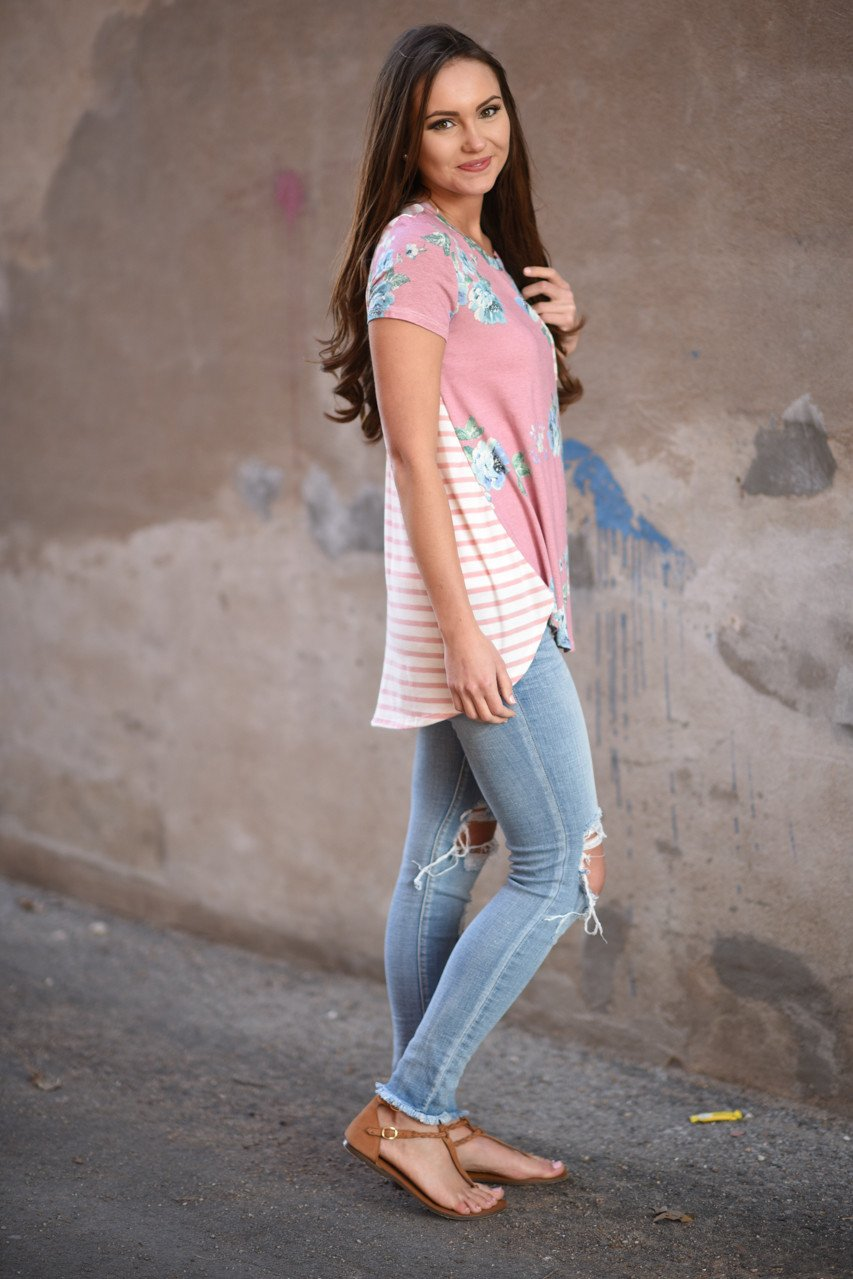 Pink Floral & Stripes Pocket Top
