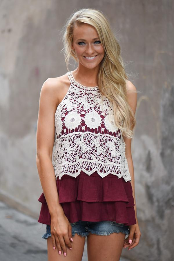 Ruffle My Feathers Crochet Tank ~ Burgundy
