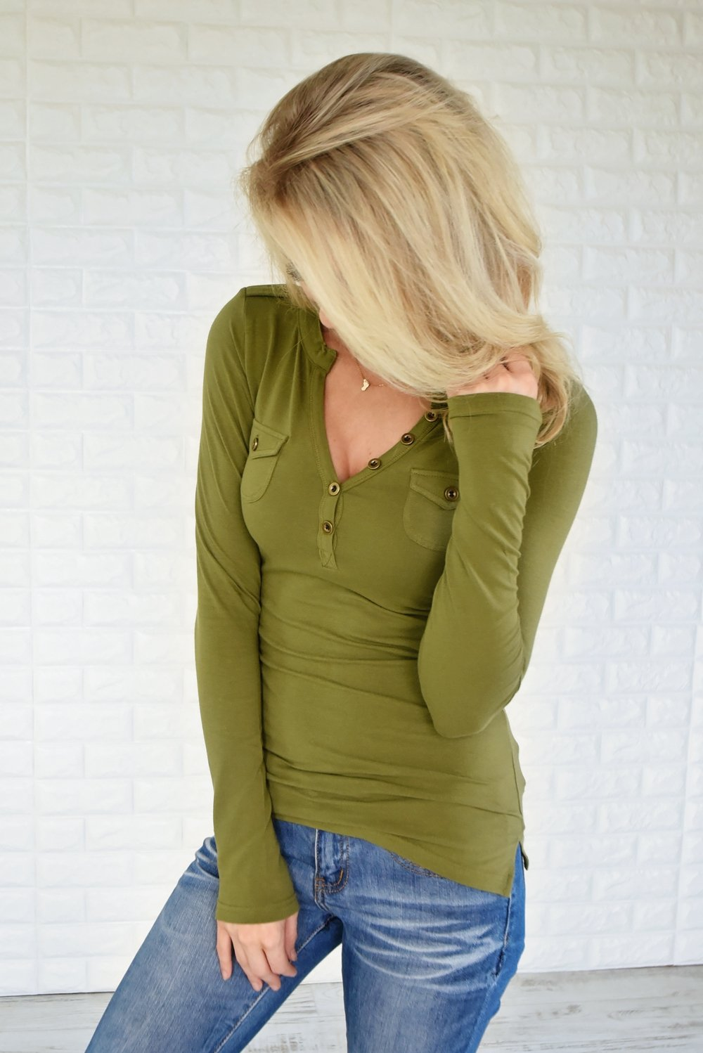 Button Top ~ Olive