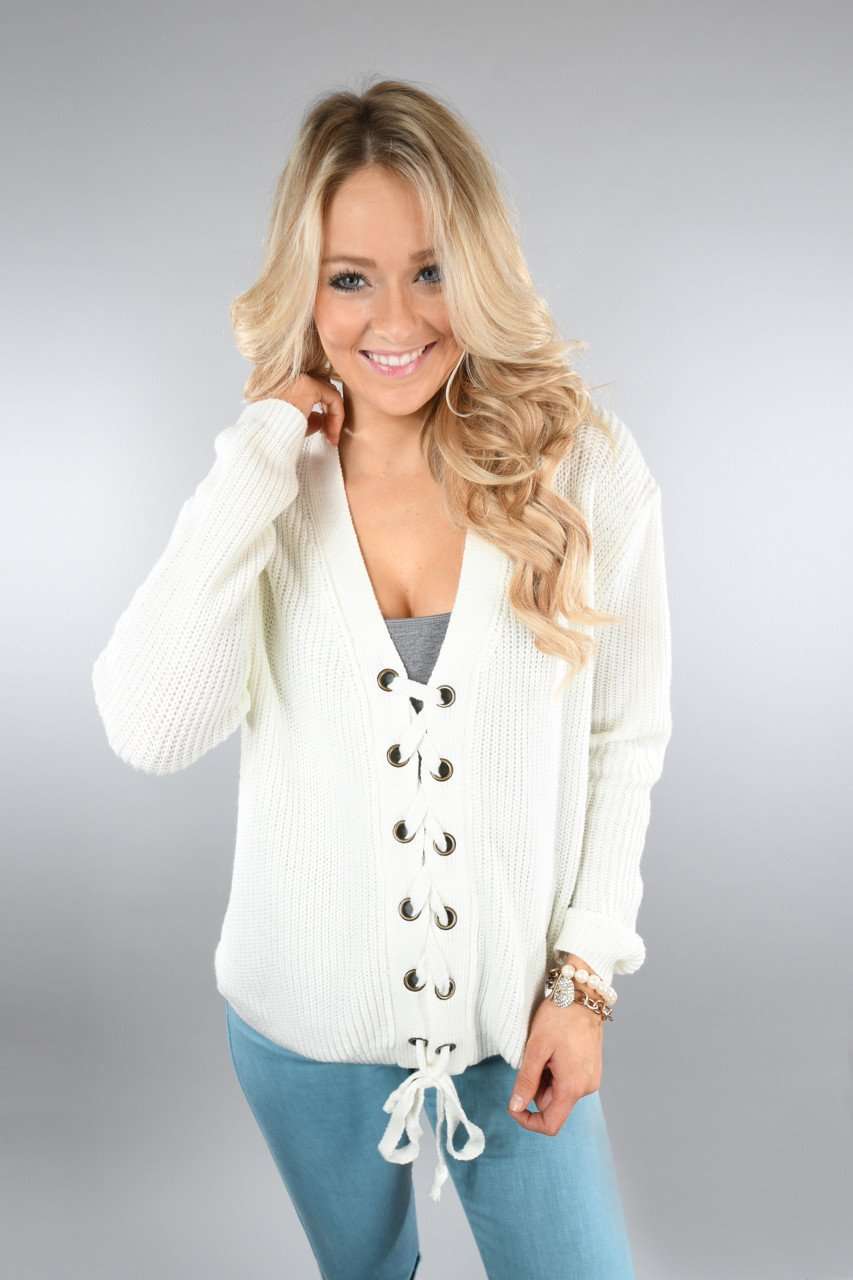 All I Want ~ Cream Lace Up Top