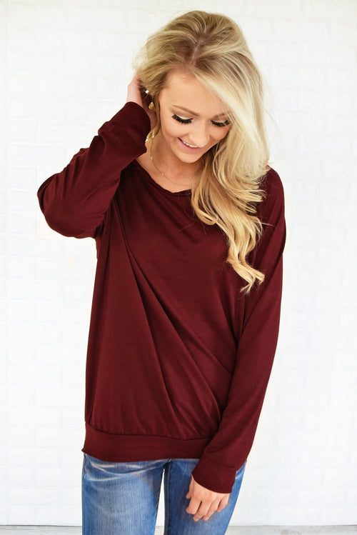 Just a Crush Sweater ~ Burnt Maroon