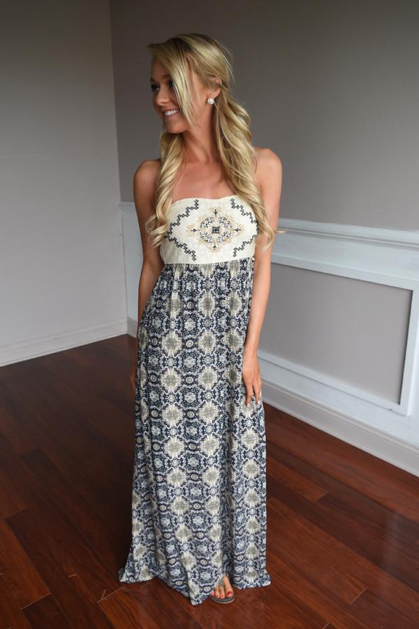 Ethnic Print Strapless Maxi Dress ~ Navy
