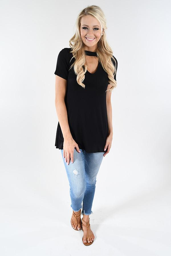 Black Mock Neck Top