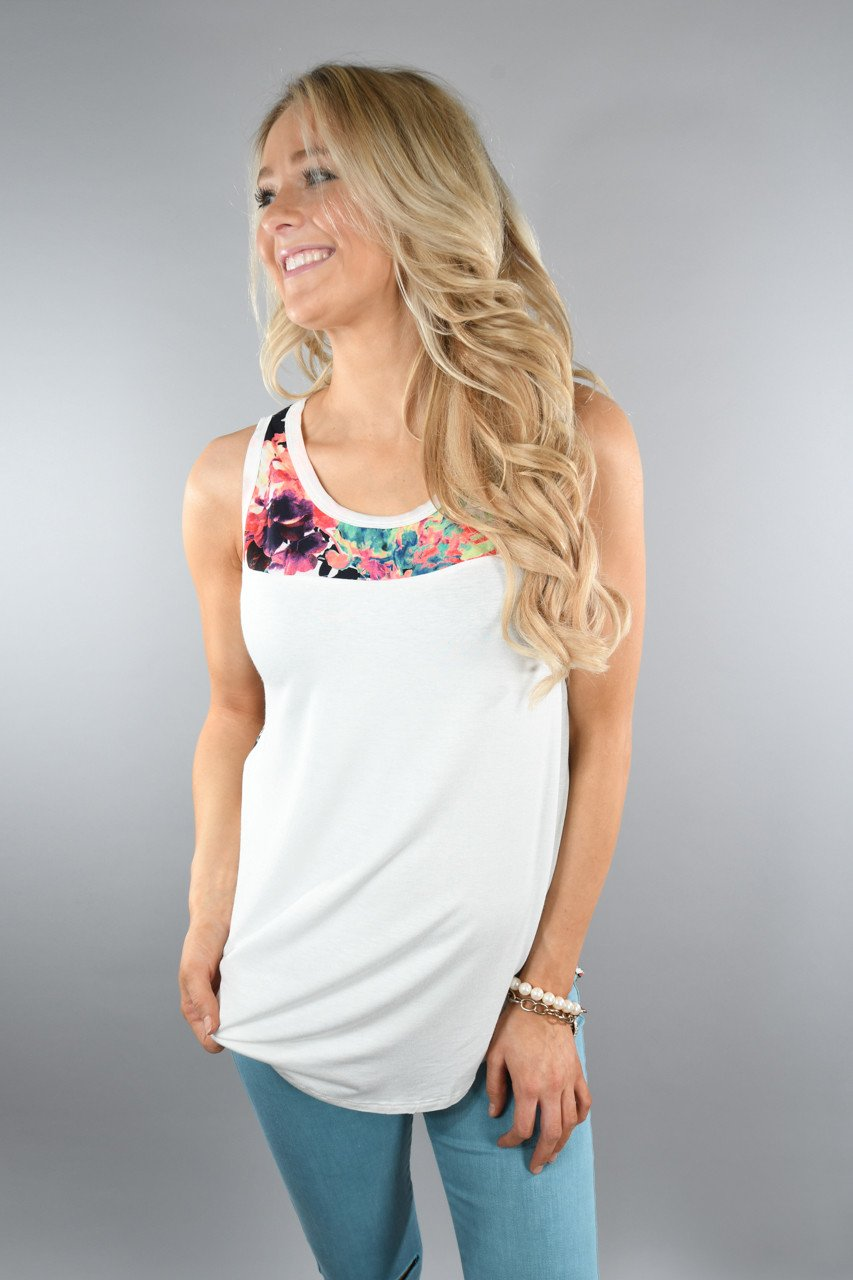 Don't Be Shy Floral Tank Top ~ White