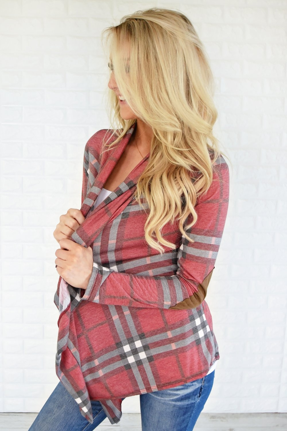 Plaid About You Cardigan ~ Red