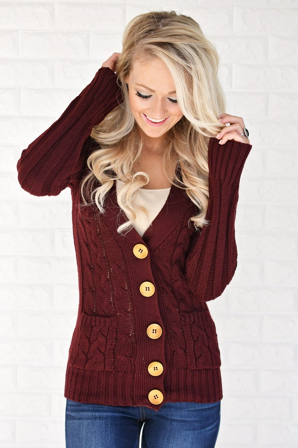 cbe0fa5eec Burgundy Button Up Cardigan – The Pulse Boutique