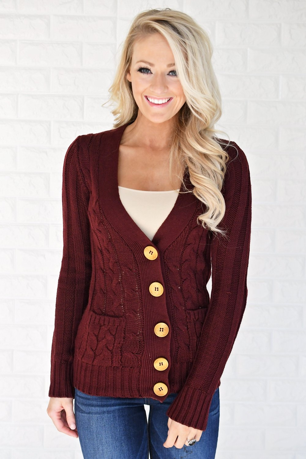 Burgundy Button Up Cardigan
