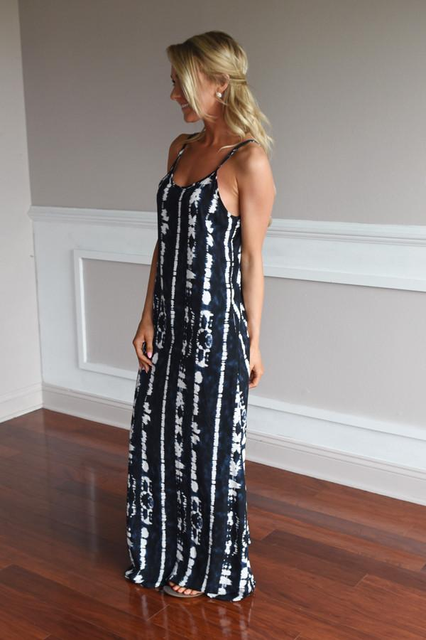 Blue Ripple Dye Maxi Dress