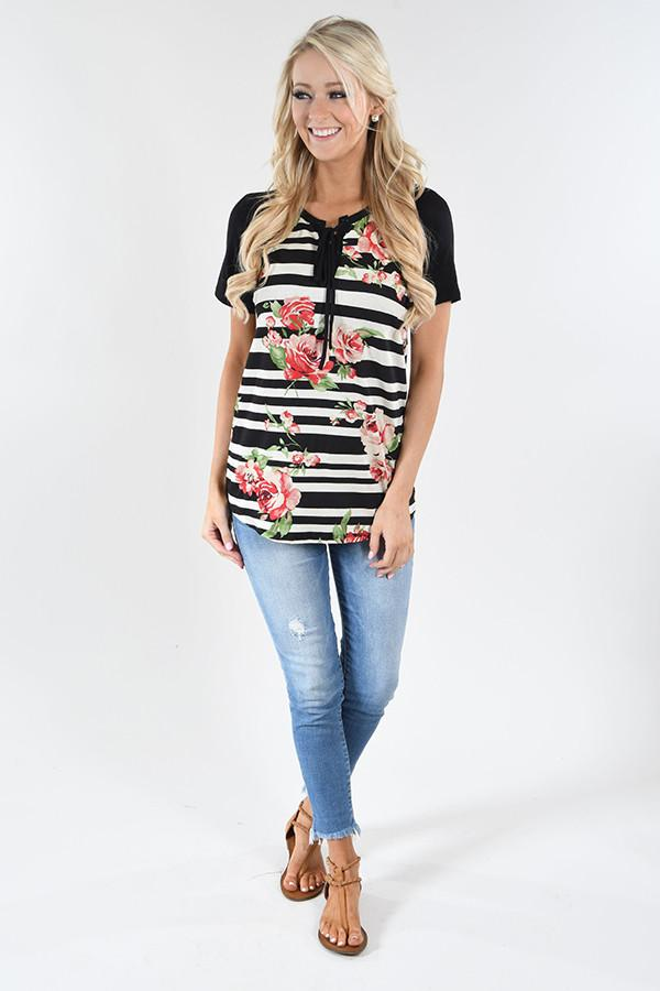 Dance Party Floral & Stripes Top