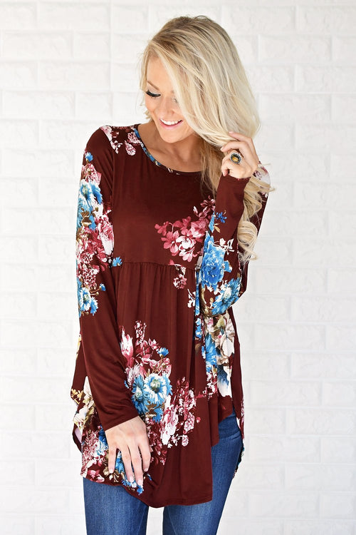 All About Tonight Burgundy Floral Top