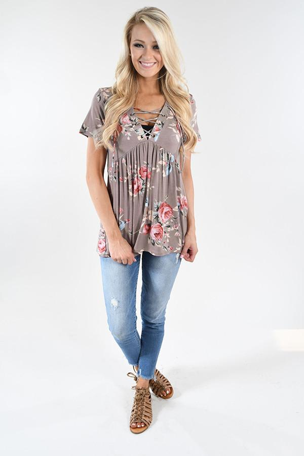 Favorite Lace Up Top ~ Floral Stone