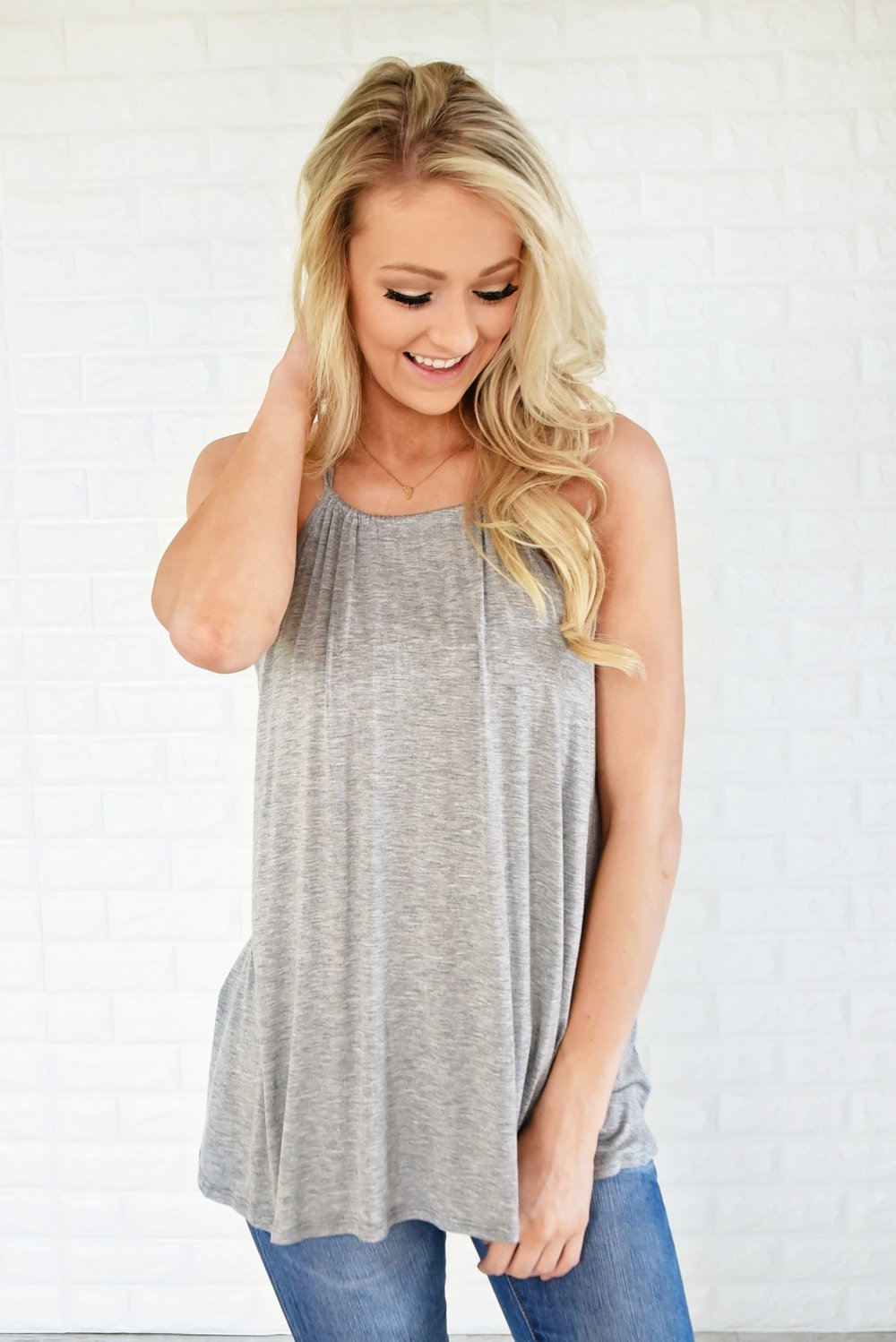No Strings Attached Tank Top ~ Grey