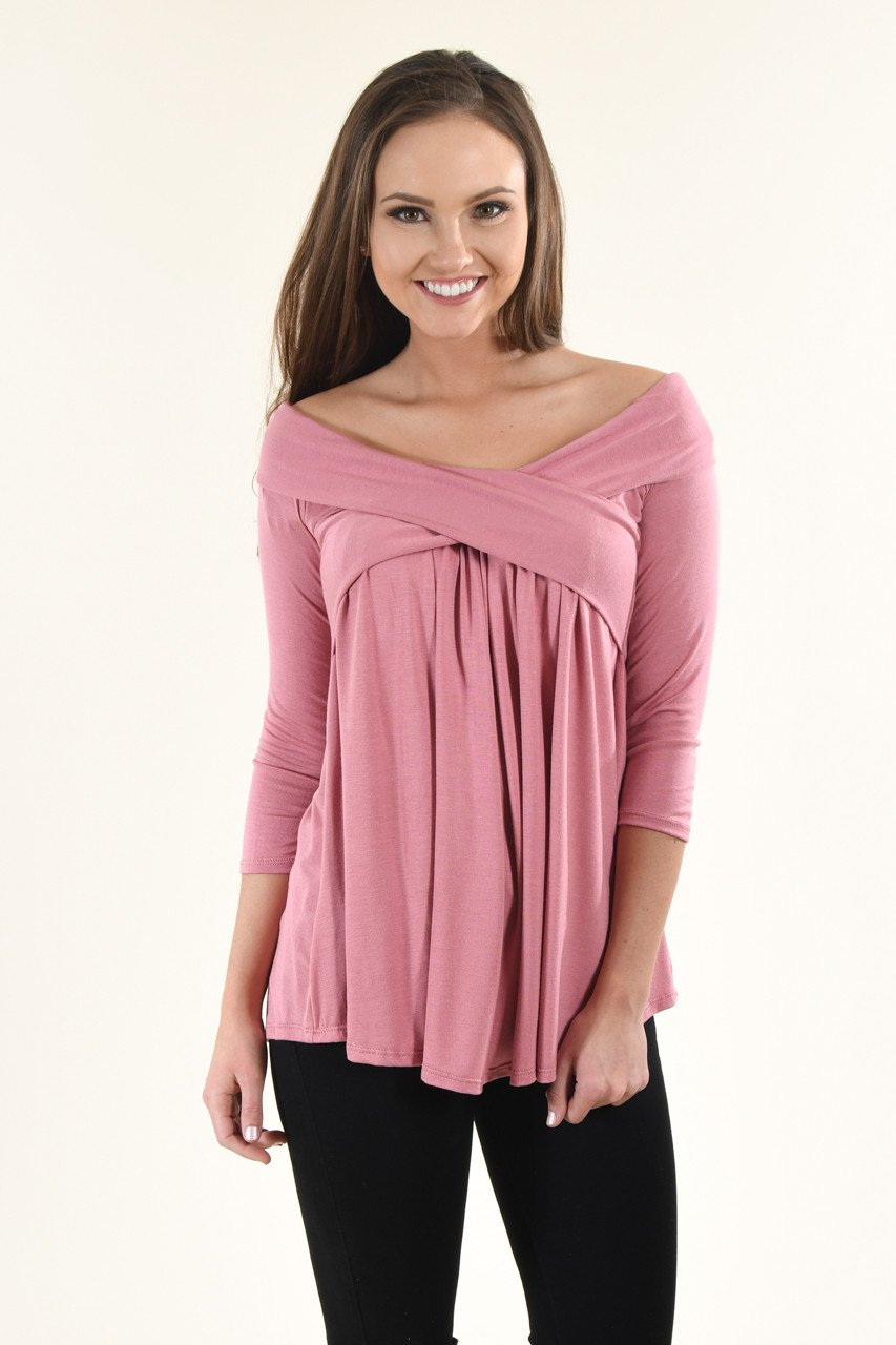 Be My Love 3/4 Top ~ Mauve