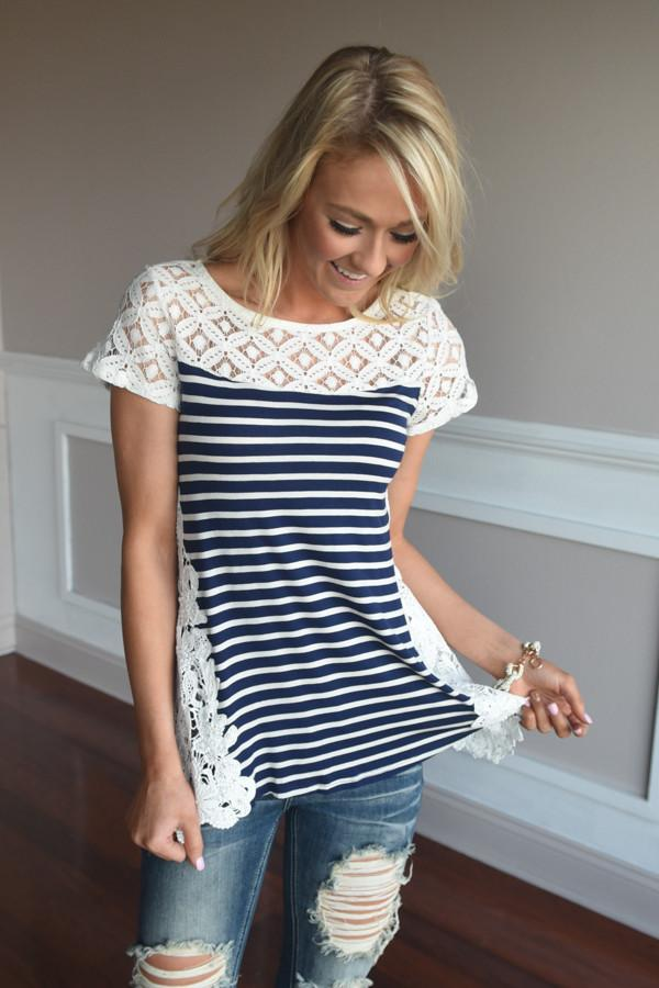 Stripes & Lace Top ~ Navy