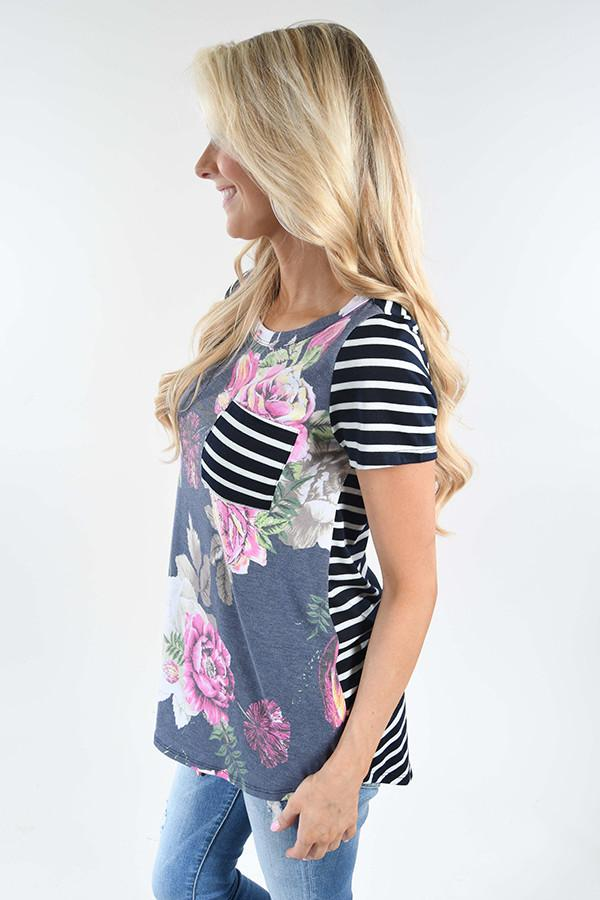 Tulip Time Pocket Top - Navy