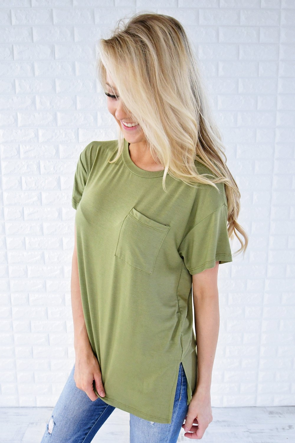 Ready or Not Pocket Top ~ Olive