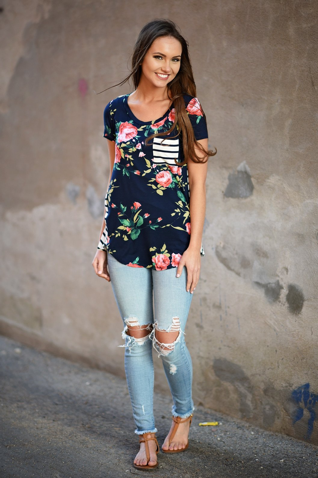 Navy Floral & Stripes Pocket Top