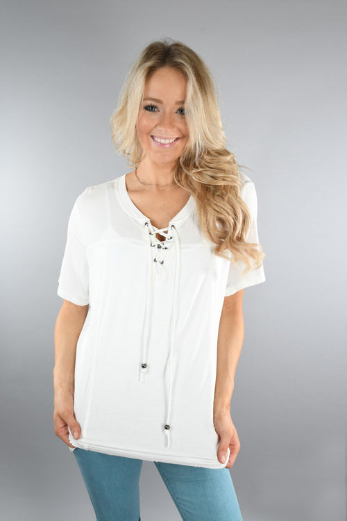 Slouchy Lace Up Top ~ Ivory
