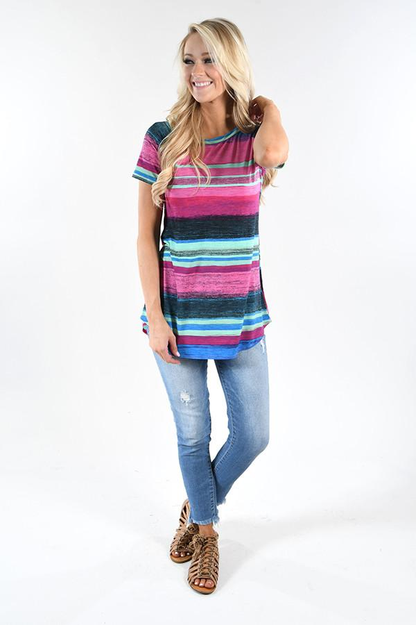 Pink Rainbow Striped Top