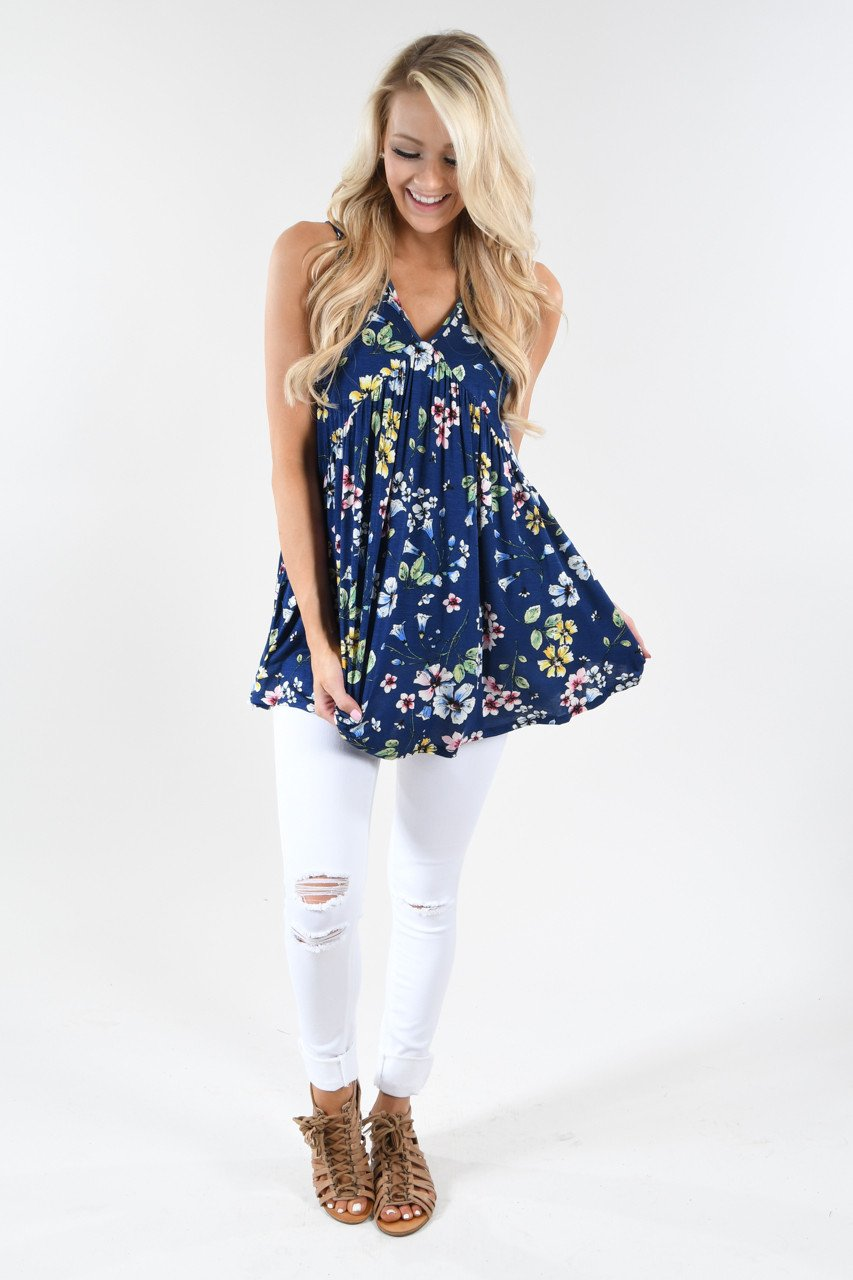 Summer Vibes Floral Tank Top ~ Navy