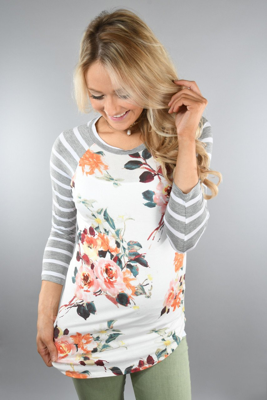 Light Grey Floral And Stripes Top