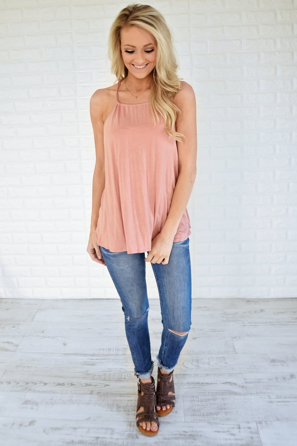 No Strings Attached Tank Top ~ Apricot