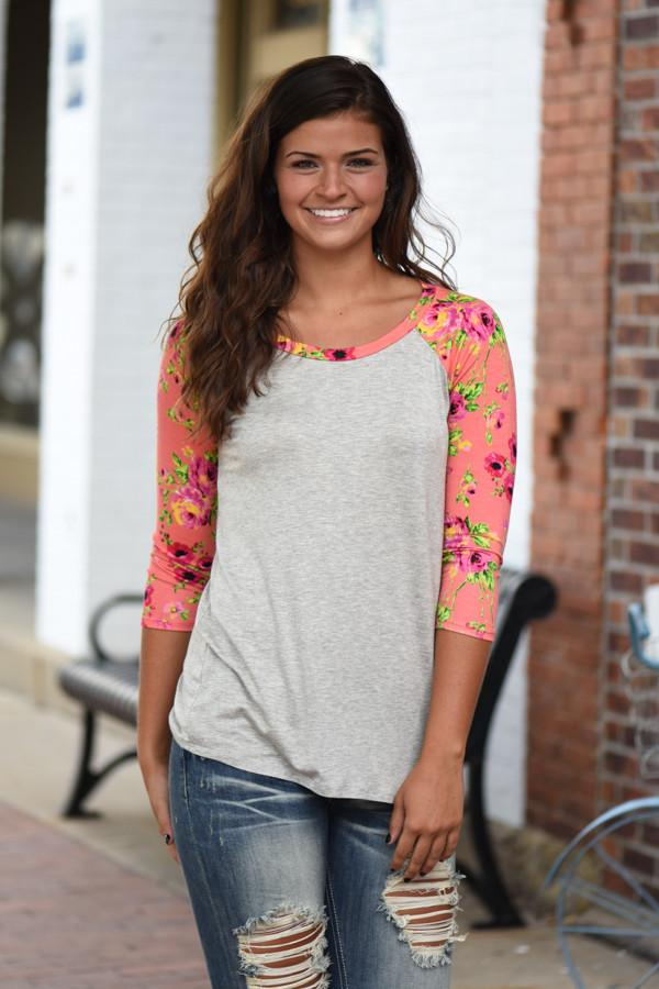 Coral Floral 3/4 Sleeve Top